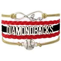 arizona diamond - Custom Infinity Love Arizona Diamond Backs baseball Sport MLB Bracelet Wax Cords Leather Wrapped Adjustable Bracelet Bangle Drop Shipping