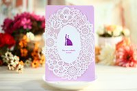 Wholesale New Laser Cut Invitation Cards Purple Flower Hollow Out Wedding Romantic Invitation Cards Wedding Supplies