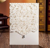 Wholesale 12pcs Pure White Elegant Lace Hollow Flower Wedding Invitations Rhinestone Laser Cut Birthday Party Decorations Invitation Cards JJ482
