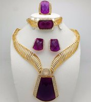 amethyst ring gold vintage - Purple Stone Vintage Charm Necklace Bracelet Earrings Ring Fashion Jewelry Set For Women