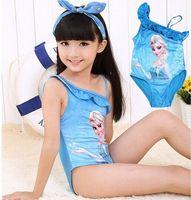 Wholesale Girls Elsa Anna One Piece Swimwear Children New Tankini Swimsuit Baby Girl Bathing Suits Kids Swimming suits Beachwear Clothes