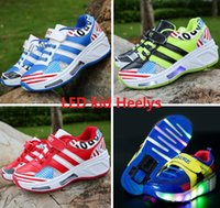 american flag loop - American flag new LED single wheel Heelys children increased sports fashion skates Colorful flags printing flashing Girls Shoes E253