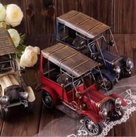 Wholesale creative zakka crafts handmade red golden blue classic auto car iron classic vintage model coffee bar home decor