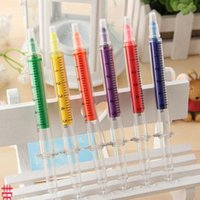 Wholesale Creative colorful syringe highlighter pen office and study marker pen mixed Office School Supplies Children s Christmas gift