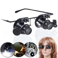 Wholesale Quality LED Magnifier Double Eye Glasses Loupe Lens X Jeweler Watch Repair Magnifier Measurement Tools Binocular Glasses Type