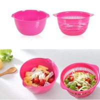 Wholesale Drain basket Fruits Basket pots vegetables drain basket double layer drop of fruit and vegetable basket Wash rice basket Vegetable Basket
