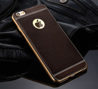 Wholesale Luxury Imitation PU leather Case Cover electroplating Soft TPU Ultra thin Original Cases for iphone7 plus S PLUS S SE Samsung S7 EDGE