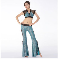 bellydance tops - Training Belly Dance Clothes piece Costume Pants and Tops Set Lace Crop Top Sexy Leopard Flare Pants for Bellydance