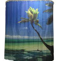 Wholesale 2016 Hot Sale New Fashion Shower Curtain Sea Sky Palm Scenery Bathroom Waterproof Polyester Bathroom Curtain With Hooks
