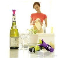 Wholesale 2016 Newest Lily Wine Bottle Stoppers Silicone Approved Food Grade Durable Wine pourer Bar Tools Colors