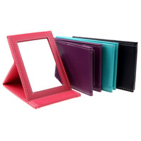 Wholesale Fashion Portable Foldable Leather Mirror Women Beauty Make up Mirror Cosmetic Mirror