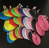 Wholesale Hot selling Noodle Flat Braid Charging Cord Sync Fabric Micro Wire USB Data Line Woven Cable Charger Samsung