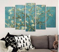 almond landscape painting - 5pcs set Almond Blossom Van Gogh white flowers picture decoration Canvas Painting wall Art for living room oil print unframed