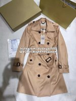 Wholesale 2016 New Design Women Coat Solid Europea Style Winter Long Coat Women s middle length trench coat double breasted coat