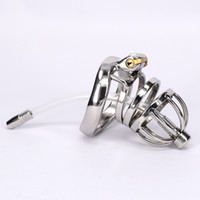male chastity device insert - Stainless Steel Male Chastity Belt Penis Restraint Locking Cage with Urethral Insert Metal Cock Devices For Men Gay BDSM Fetish