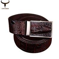 alligator leather goods - 2016 good quality cow genuine leather belts for men alligator pattern automatic buckle mens belt