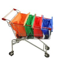 Wholesale 60set Large Size in1 Shopping Grocery Bag For Supermarket Trolleys Carrier Bag Shopping Bag Reusable Trolleys Folding Shopping Bag