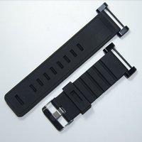 Venta al por mayor-Para la correa de reloj Suunto Core 24MM Negro caucho suave de silicona + hebilla inoxidable + PVD Adaptadores + Screwbars