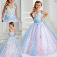 Wholesale Pink and Blue Flower Girl Dresses For Wedding Ball Gown Floor Length Kids Little Girls Toddler Glitz Princess Pageant Dresses For Girl