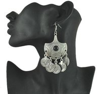 ancient coin earrings - 2016 Zamac VintageTibetan Silver Coin tassel Statement Earrings Exotic ancient coins Ethnic Silver Earrings Gypsy Coin Earring
