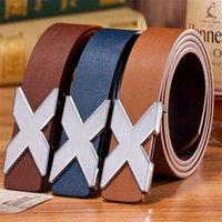alloy x - Mens Designer Imitation Leather X Waist Strap High Quality Belts for Men Buckle Leisure PU leather belts