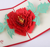 Wholesale 10pcs Peony Flower Handmade Kirigami Origami D Pop UP Greeting Cards Invitation Postcard For Birthday Wedding Party Gift