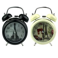 Wholesale 2015 New Arrival Classic Eiffel Tower Pattern Retro Double Bell Desk Table Alarm Clock for