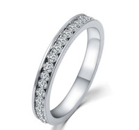 class ring - 18K White Gold Plated TOP Class Full Round Rhinestones Studded Eternity Wedding Ring For Women HZ