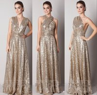 Wholesale Sparkly Convertiable Rose Gold Sequins Bridesmaid Dress A Line Floor Length Long Plus Size Custom Made Maid Of Honor