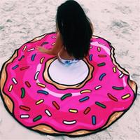 beach picnic blanket - Round Yoga Mat Picnic Blanket Pizza Hamburger Donut Polyester Beach Shower Towel Blanket