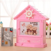 bedside drawers - 72pcs W1623 MH106 Cartoon Bear cabin alarm clock with mirror students creative plastic drawer bedside clock