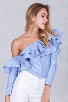 Wholesale Cool Long Women Shirt - 2016100921 One shoulder ruffles blouse shirt women tops 2016 autumn Casual blue striped shirt Long sleeve cool blouse winter blusas