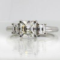 asscher diamond ring - 3 GIA Certified Asscher Cut Stone Diamond Engagement Ring Platinum