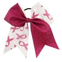 band prints - Elegant inch Printed Patchwork Cheer Bows Breast Cancer Awareness Glitter Cheerleading Bow With Elastic Band Wholeasale