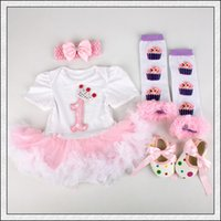 ball gown shoes - 4PCs per Set Infant Lace Romper Crown st Birthday Baby Girls Tutu Dress Headband Shoes Leggings for months Hot Sale