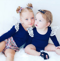 Wholesale INS Babies T shirt Autumn new children stripe long sleeve T shirt Kids lace fly sleeve princess tops Girls fall clothing A9340