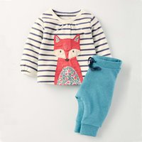 baby giraffe pictures - LM20079 Pullover Cartoon fox picture cotton suits Top pants O neck set Cartoon giraffe pattern pink stripes baby sets