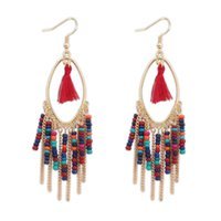 Wholesale Bohemia Style Alloy Rhinestone Flexaggerated personality beads Tassel Drop Earrings For Women s Fashion Jewelry Accessories