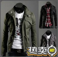 army jacket mens small - 2016 New Fashion Mens Coats Solid Fashion Jacket Snap Clothing Casual Outwear Black Army Green Grey Trench Coat Slim Jacket Zipper XXXXL
