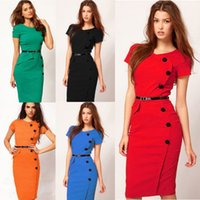 Wholesale Dress fashionable Nail button OL dresses with short sleeves summer new style close fitting one piece dress
