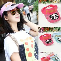 Wholesale 2016 Summer Women s Empty Top Hat Sunscreen UV Sun Hat Adjustable And Panda Pattern Visors