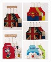 adult art smock - Adult Superhero USA Flag Doraemon Aprons Mickey Owl Aprons Cartoon cotton linen cloth Kitchen Apron Art Painting Smock OOA208