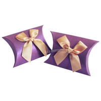 Wholesale DIY cardboard Wedding Candy Box Party Favor Boxes Gift Pillow Box with a bow x10x3CM purple LWB0279C