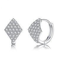 Wholesale 2 S925 Sterling Silver Earrings Shiny Zircon Geometry Shape Clip on woman Earrings