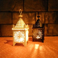 Wholesale Cheap Metal candle holder Small Iron retro lantern home decoration Black White color for wedding
