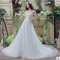 Wholesale Ball Gown Wedding Dresses Scoop Neck Long Sleeve Button Sweep Train Tulle and Lace Custon Made Bridal Gown Dress Romantic