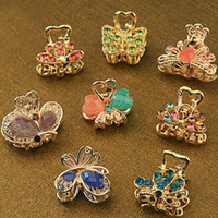 Wholesale Vintage Metal Butterfly Mini Hair Claws Clip Crystal Rhinestone Hairpin Hair Jewelry Charm Hair Accessories For Women