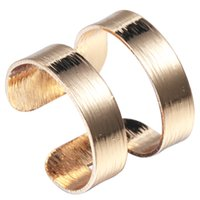 anniversary tube - 10pcs High Quality Stacking Wide and Thick Brushed Two Line Band Cuff Ring Tube Knuckle Ring