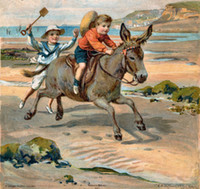 beach boys singles - Decorative Victorian Edwardian Beach Seaside Scenes Boys on horse Pure Hand Painted Art Oil Painting On Canvas any customized size accepted
