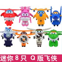 Wholesale 8PCS Set Super Wings Mini Airplane ABS Robot toys Action Figures Super Wing Transformation Jet Animation Children Kids Gift